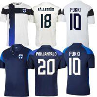 2021 Finlande Soccer Jerseys Pohjanpalo Euro 2022 Cup Team National Team Pukki Skrabb Raitala Jensen Lod Kamara Finlande 21 22 Uniformes de football Maillot de pied Thaïlande