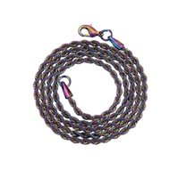 3mm Stainless Steel Colorful Twist Chain Choker No Pendant with Chains Hip Hop Necklace