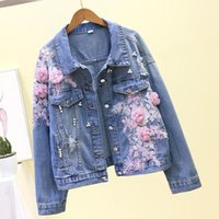 Women's Jackets 2021 Autumn Women Denim Jacket Embroidery Three-dimensional Floral Jeans Beading Pearl Ripped Hole Bomber Outerwear P778
