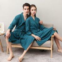 Men's Sleepwear Spring Autumn Men Waffle Long Bathrobe Water Absorption Quick-dry Robes Fashion Towel Plus Size 3XL Lovers Dressing Gown Kim