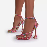 Women Sandals Sexy Summer Shoes Gladiator Clip Toe High Heels Bandage Buckle Strap Pumps Squre Toe Ladies Party Fashion Stiletto Cheap Shoes
