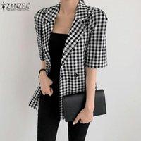 Women's Suits & Blazers Women Button Down Front Coats ZANZEA 2021 Grid Printed Blazer Elegants Jackets Long Sleeve Outwears Plus Size Pocket