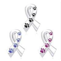 Imprimés d'usine paw ruban Broches pour animaux de compagnie femme Épingles et broches Cat Dog Memorial Pin Memorial Broche Bleu Broche Soie