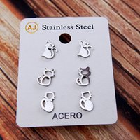 New Ear Studs Earrings Set Cat Kitten Hollow-Out Steel Mini Silver Metal Charming Retro Trendy Cute Sweet Vogue Gift Girl Party 3 Pairs Young Pretty Lovely School T2010