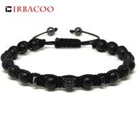 Charm Bracelets IRBACOO 2021 Mens Fashion Macrame Bracelet Matte Onyx Stone, Hematite With CZ Disco Ball For Jewelry Gift