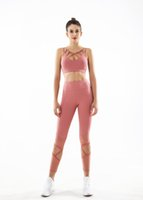 Quick dry side pockets Elastic sling bra Yoga Outfits 4 needle 6 thread High waist Net yarn Hollow out leggings 2 piece set joggers for women Black gray pink Solid color