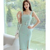 2021 Yeni Zarif Neo Nane Yeşil Kore Versiyonu Mizaç Orta Buzağı Bodycon Kılıf Elbise Örgün Parti Gece Chic Moda