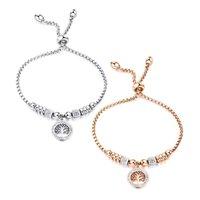 Adjustable Gold Plated 316L Stainless Steel Heart Charm Bracelet for Women Jewelry Zircon C3