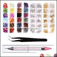 Kits Salon Health & Beautywholesale 3D Nail Art Rhinestones Rose Gold Rivets Studs Charms Sequins Gems Decoration Kit1 Drop Delivery 2021 Qu