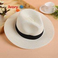 Breiter Rand Panama Hut für Party-Berufung Strand Sommer Diskette Wide Straw Beach Sunhat Rand Hüte Für Frauen Strand Headwear
