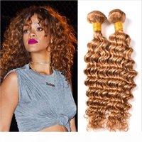 Atacado 8A Brazilian Human Virgin Hair # 27 Honey loira pacotes 3 pcs lote profundo solto cabelo encaracolado pacotes profundamente onda extensão de cabelo