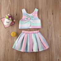 Toddler Infant Baby Girl Clothes Set Rainbow Striped Sleeveless Vest Tops Tutu Princess Skirts Party Outfits Summer Suits