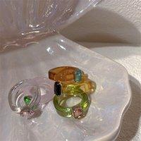 컬러 링 한국어 YLYL 다이아몬드 아크릴 수지 투명 젤리 느낌 검지 손가락 디자인 조수 2154 Q2