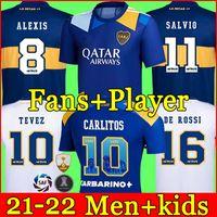 팬 플레이어 버전 22 22 Boca Juniors 축구 유니폼 Carlitos Maradona Tebez de Rossi 2021Third 멀리 3 번째 4th 태국 축구 셔츠 남성과 아이들이 유니폼을 설정합니다.