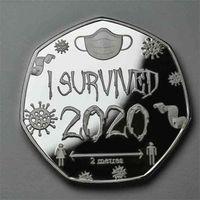 Estátua Não Magnética Prata Prata Banhado 40mm Emblema Comemorativo Decoração Americana Moeda Moeda I Sobrevivido 2020 Moedas H32K41P