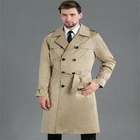 Men's Trench Coats Khaki Double-breasted Mens Corta Vento Man Long Coat Men Clothes Slim Fit Overcoat Sleeve Ropa Hombre Sell