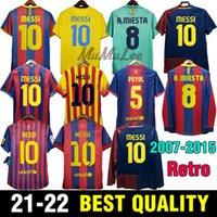 2007 08 Retro Messi IniestaサッカージャージーPuyol Guardiola 09 10フットボールシャツRonydinho Xavi 11 12 Neymar JR Pedro 13 14 Suarez 15 Vintage
