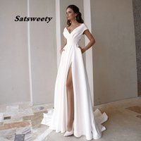 Modest V-neck Satin Wedding Dress Fashion Short Sleeve Sweep Train Slit A Line Bridal Gown with Pockets