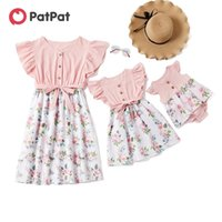 PatPat Summer Mosaic Mommy and Me Floral Bowknot Flutter-sleeve Dress Romper for Mom Girl Baby Family Look 210521