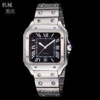 Quality Large Size 39MM Black Face Automatic Mechaincal Movement Men's Watch Bezel Stainless Steel Mens Wristwatches