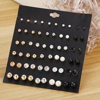 Hoop & Huggie 30Pairs Set Crystal Rhinestone Pearl Stud Set Fashion Birthday Stone Simple Jewelry For Women Earrings