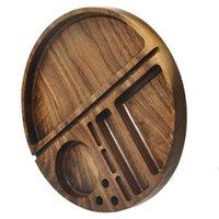 Forma rotonda Cassetto di rotoli di legno naturale Accessori per il fumo con Groove Diametro 218 mm Tobacco Roll Prays Sigaretta ZZF8044