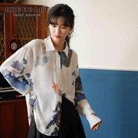 Haterart гор и реки печать с длинным рукавом блузка женщины белый Смотреть через воротник рубашку случайные корейские мода одежда
