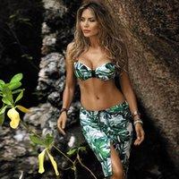 Sexy Beach Short Jupe Léopard Couvre-Bikini Feuille De Feuille De Feuille De Bain Natation Pour Femmes Beachwear Maillots de bain pour femmes