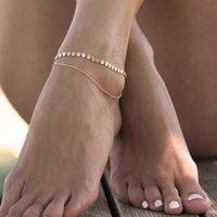 Halhal Gotik Pullu Püskül Ayak Bileği Bilezik 2 Katmanlı Altın Gümüş Ton Zincir Kadın Anahkiler Ayak Bileği Bilezik Ayak Charms 591 Z2