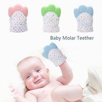 Mitón de la dentición del bebé de silicona para 0-6 meses, los juguetes de chísico recién nacido, los manzanos infantiles, los guantes de color BPA seguros para calmar las encías doloridas y hinchadas