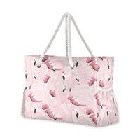 Berühmter Strandtasche Flamingo Nylon Umhängetasche Geldbörse und Handtaschen Große Kapazität Rosa Womens Casual Tote Luxus-Taschen
