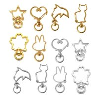 Keychains L93E 30Pcs Metal Heart Star Cat Shape Keychain Swivel Lobster Clasp Spring Snap Key Ring Jewelry Making