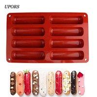 UPORS 8 Forma Classic Collection Forma Non Stick Eclair Hot Dog Sauseage Molde de silicona Herramientas para hornear para pasteles