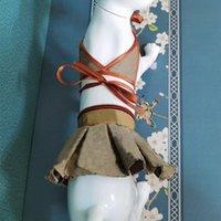 2 قطعة / المجموعة تصميم الكلب الملابس الصيف الحيوانات الأليفة الكلب الملابس بيكيني الأزياء مضحك مصارعة الثيران corgi تنورة XHH21-390