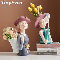 Yuryfvna الإبداعية فتاة تمثال الراتنج الديكور غرفة المعيشة زهرة ترتيب تخزين المنزل الحرف سطح المكتب ديكور هدية المزهريات