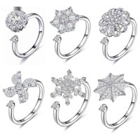 Zemo Flower 회전 크리스탈 회전 손가락 조정 가능한 장미 골드 결혼 반지를 재사용 할 수있는 anillos