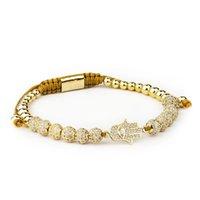 Designer gioielli di lusso gioielli gioielli Bileklik Slivery Crown Charm Bracciali Braccialetti FAI DA TE 4mm Branelli rotondi Braccialetto intrecciato Pulseira Zi