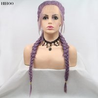 Synthetic Wigs Twist Braided Lace Front For Black Women With Baby Hair Middle Parting Heat Resistant Double Box Braid