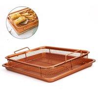 2019 Copper Air Fryer Crisper Tray Oil Frying Basket Non Stick Mesh Grill Aluminum Crisper With Easy Grip Handles T200227
