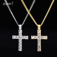 Pendant Necklaces 2021 Gold Silver Color Men women Hiphop Cross Fashion Vintage Necklace Hip Hop Jewelry Gifts