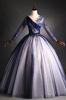 Ricamo di lusso in pizzo marinaio perline perline a manica lunga abito da cortile medievale rinascimentale Victoria abito / evento