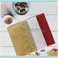 Greeting Cards Event Festive Party Supplies Home & Garden10Sets Flower Laser Cut Invitations Elegant Wedding Favors Invitation Card Vintage