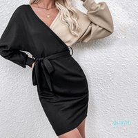 Maternity Dresses 2022 Two-color Women's Splicing Waist A-line Skirt Long Sleeve V-neck Small Fresh Bandage Dress Clothes
