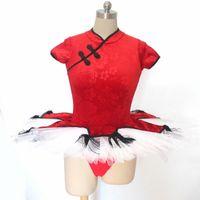 Ballett-Tutu-chinesischer Stil rot mit weißem Velor-Mieder 4 Schichten von harten Tüll mit Unterhörungen 00SL #