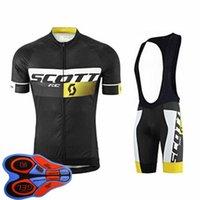 Erkek Bisiklet Forması Seti Yaz Scott Takımı Kısa Kollu Bisiklet Gömlek Önlüğü Şort Takım Elbise Hızlı Kuru Nefes Bisiklet Üniforma Yarış Giyim Boyutu XXS-6XL S041419