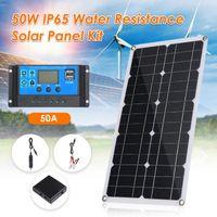 مصابيح الشمسية 50W لوحة مزدوجة USB الخلايا الإخراج بولي 10/20/30/40 / 50A تحكم لسيارة اليخت 12 فولت شاحن قارب البطارية