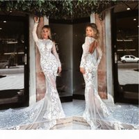 2019 Gorgeous Bohemia Wedding Dresses Jewel Neck Long Sleeve Lace Applique Bridal Gowns Hollow Back Sweep Train Sexy Mermaid Wedding Dress