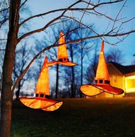 US STOCK Halloween Decoration LED Witch Wizard Lights Cosplay Costume Props Horror Ghost Pumpkin Home Darden Decor Party Supplies Tree Glowing Hat Ha