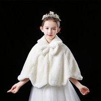 Wraps & Jackets Wedding Flower Girls White Thicken Plush Bolero Dress Bowknot Shawl For Jacket Party Evening Boleros 2021