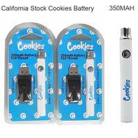 США на сток 350mah cookie Cookies Vape Carts Батареи ECIG Starter Kit 510 Резьбовые переменные напряжения аккумуляторные аккумуляторы с зарядным устройством USB California Warehouse